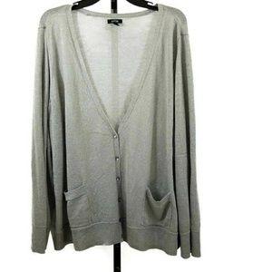 Sparkly Metallic Button Front Plus Size Cardigan